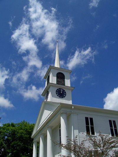Photo of a church steeple in Woodstock, Connecticut